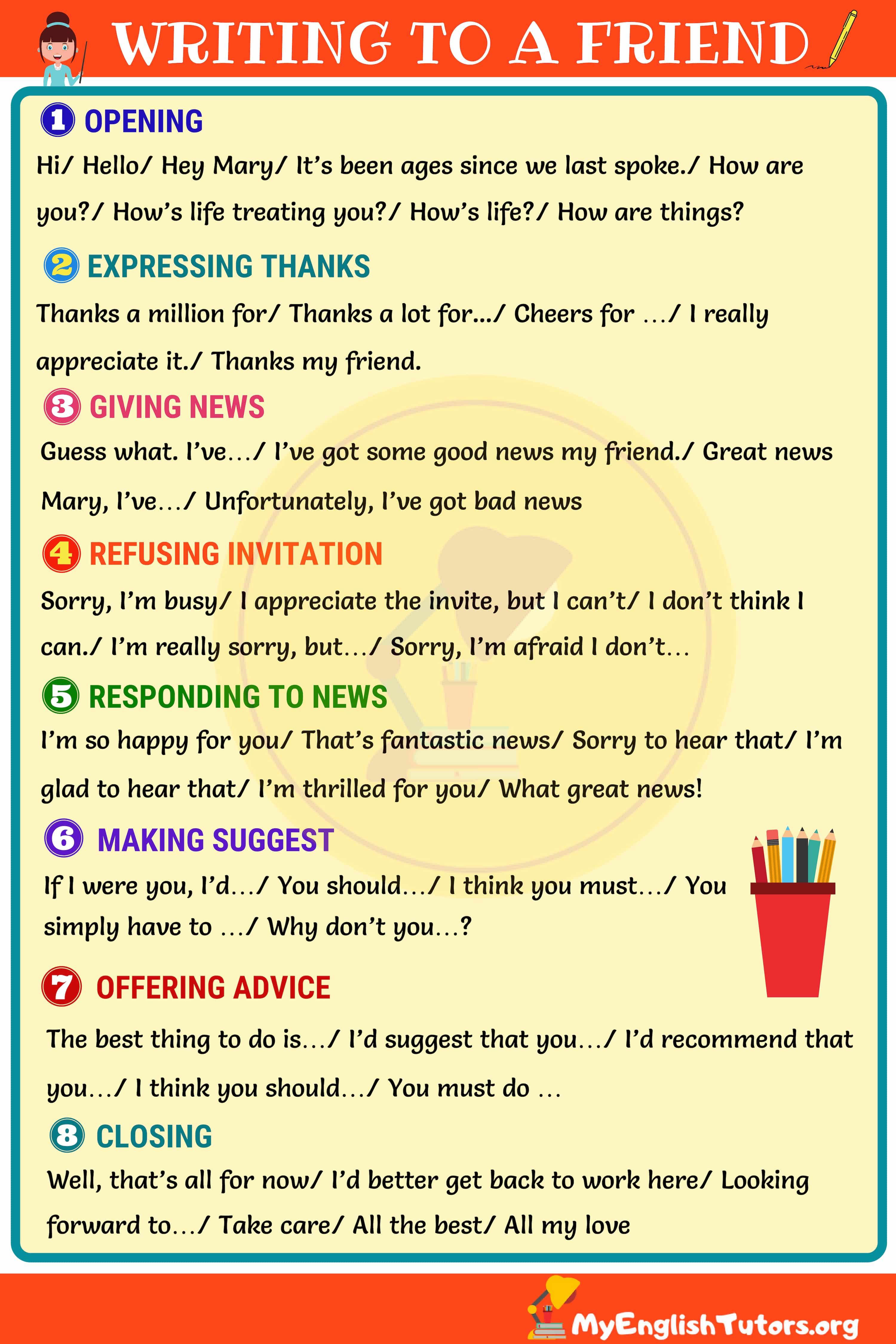 How to Write a Friendly Letter in English Friendly