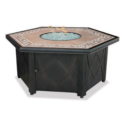Uniflame 55 In Decorative Tile Mantel Lp Gas Fire Table