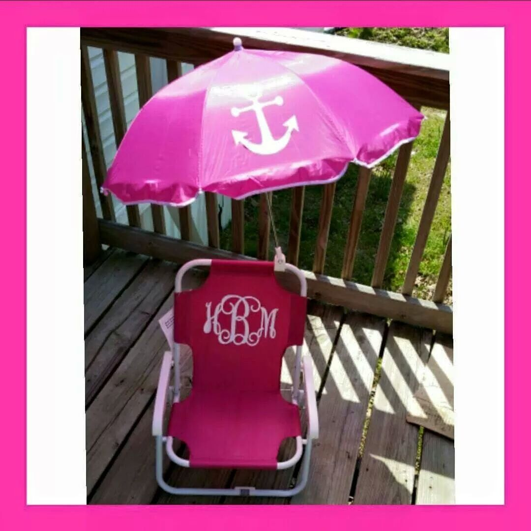 toddler beach chair personalized outdoor swivel glider chairs with matching umbrella monogrammed by designsonadime864 on etsy