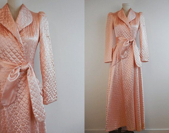 Vintage Quilted Satin Robe / 1940s Long Bias Cut Blush Pink Quilted ...