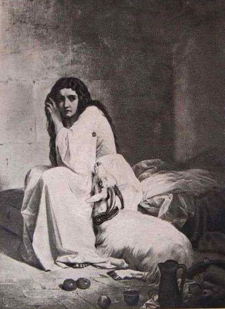 Esmeralda in Quasimodo's closet. An illustration by Ferrari, the beginning of the 20th century