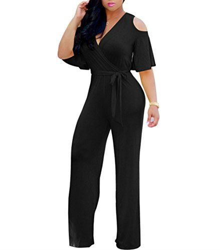 52e2636928db JINTING Gludear Women Sexy Wrap Cold Shoulder Ruffles Wide Leg Jumpsuit  Rompers