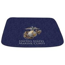 US Marine Corps Shower Curtain With A Blue Background And The EGA Eagle Globe