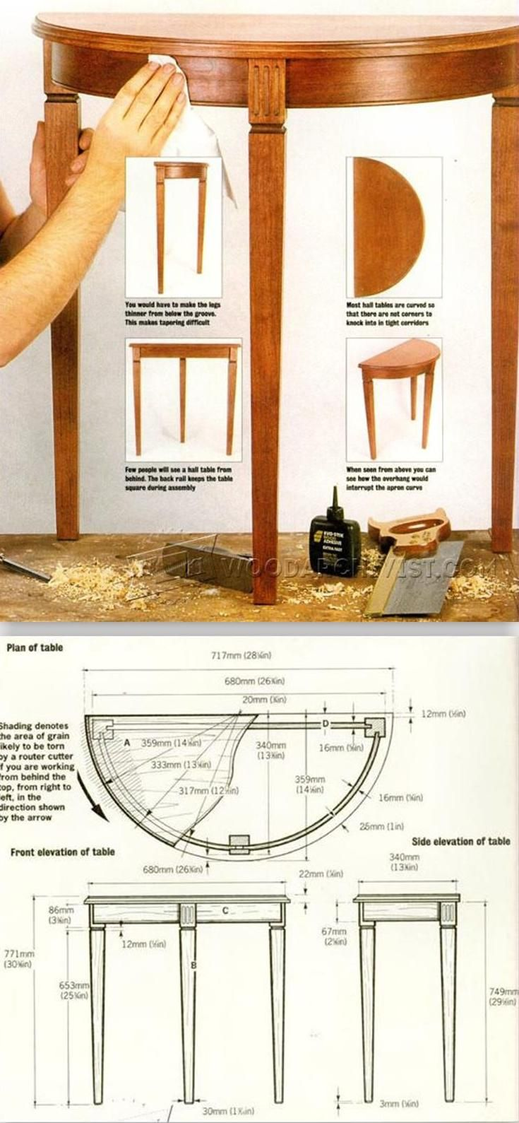Half Moon Hall Table Plans Furniture Plans And Projects