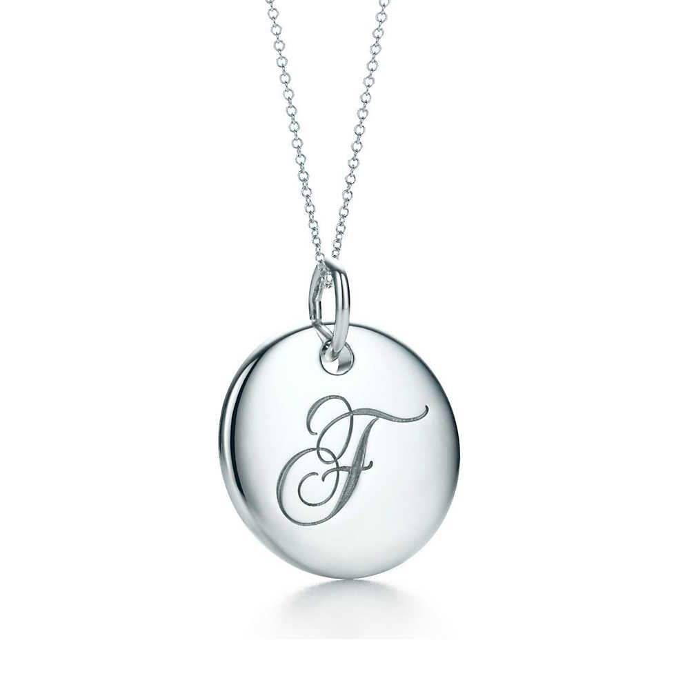Tiffany Notes Alphabet Disc Charm Pendant  Chain Letter Tiffany