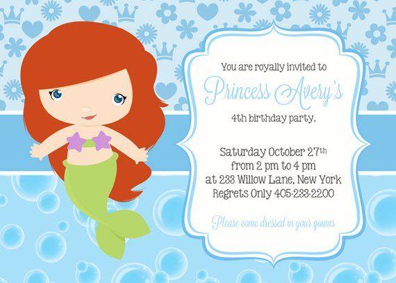 Mermaid Birthday Invitation Party Ariel Princess Inv