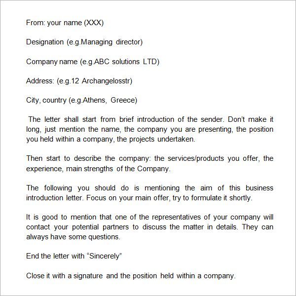 Business Self Introduction Letter  Earn    Introduction