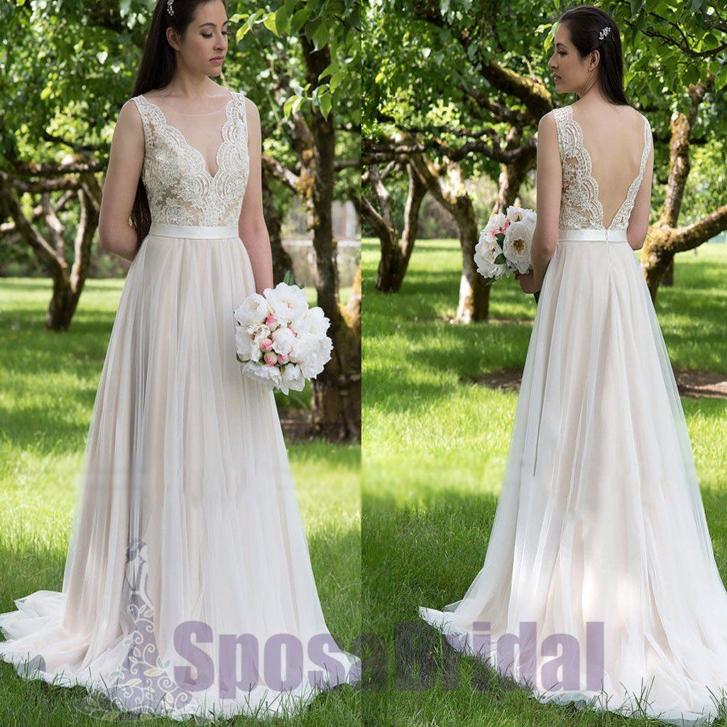 Long v back tulle and lace aline simple soft affordable wedding