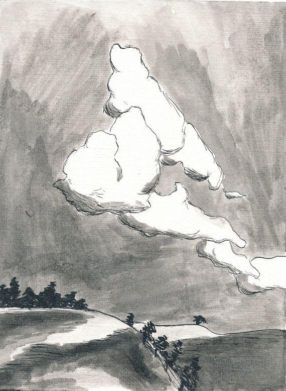 Cloud Study 45 x 6 Inch Original Ink Wash by GallivantingGirl