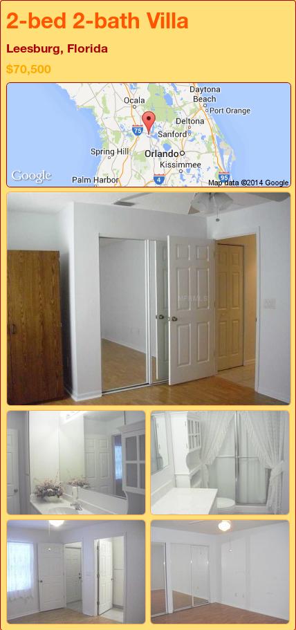 2-bed 2-bath Villa in Leesburg, Florida ►$70,500 #PropertyForSale #RealEstate #Florida http://florida-magic.com/properties/74014-villa-for-sale-in-leesburg-florida-with-2-bedroom-2-bathroom