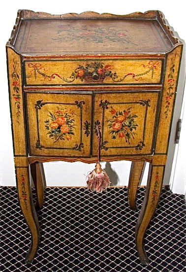 19th Century Hand Painted French Provincial Bedside Table Country Style Decorating
