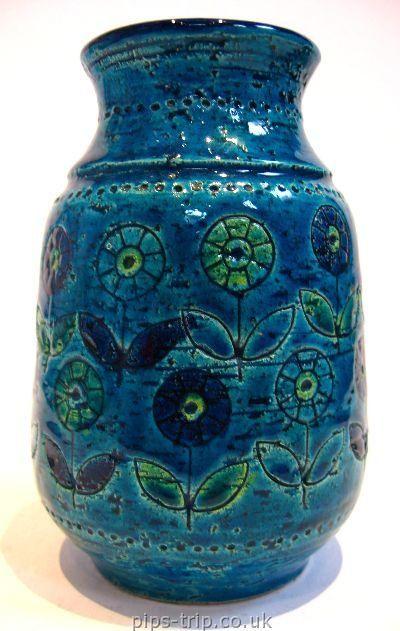 Pottery Archives Italian Pottery 1 1950 S 60 S Bitossi Italy Rimini Blu Flower Patterned Vase Pottery Art Vintage Pottery Italian Pottery