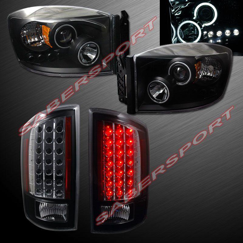 07 08 Dodge Ram Ccfl Halo Projector Headlights Black W Led L E D Tail Lights Dodge Ram Dodge Ram Accessories Dodge