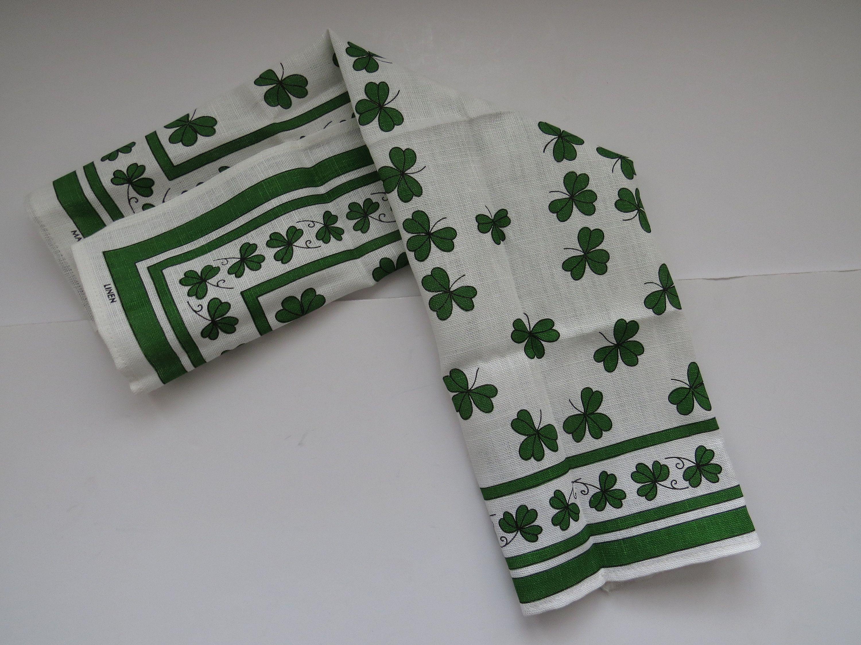 St Patricks Day Shamrocks Dish Towel By Ulster Linen Kitchen