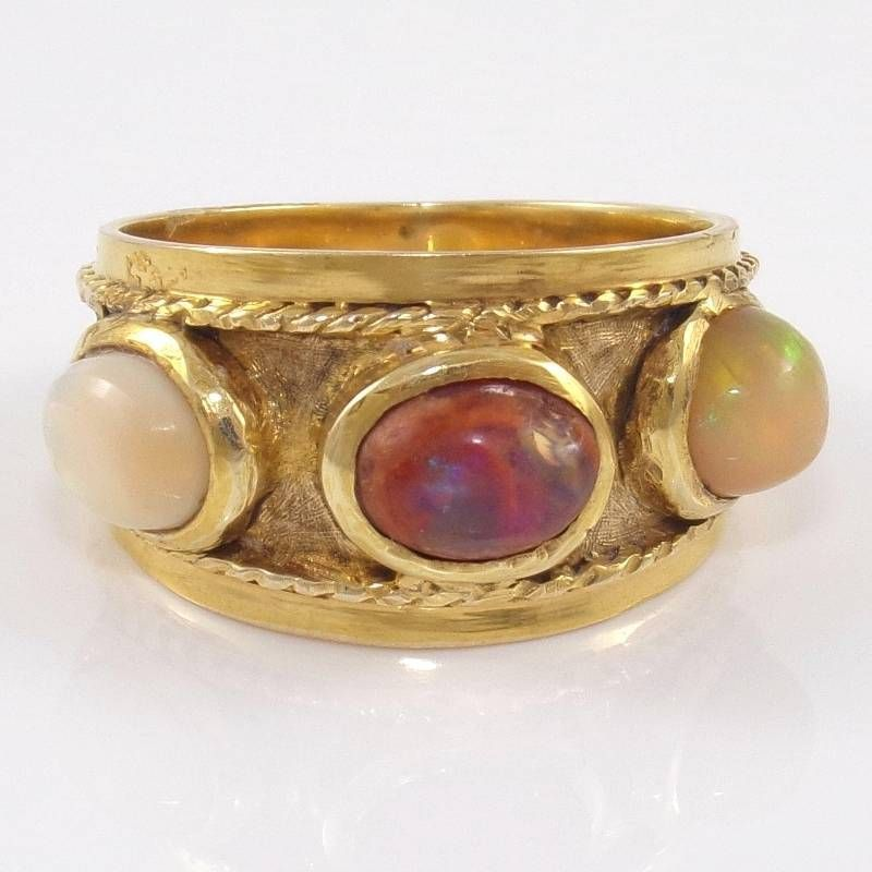 Vintage Estate Solid 14K Yellow Gold Mexican Fire Opal Band Ring Size 7.75