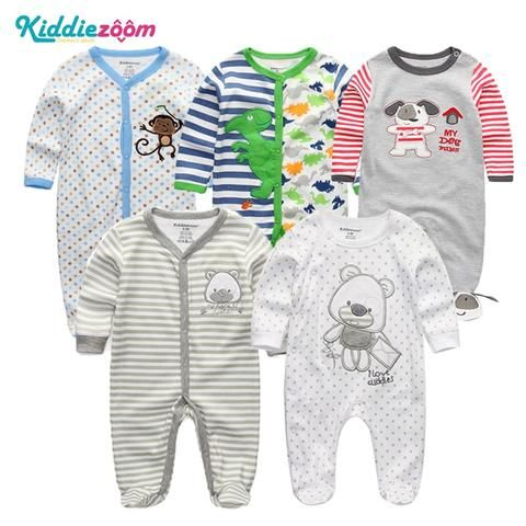 2018 3 4 5PCS lot Newborn Baby Boy Rompers Full Long Sleeve Cotton Jumpsuit  O-Neck 0-12M Baby Body Clothes Inftant Girl Clothing a6f5f16a1