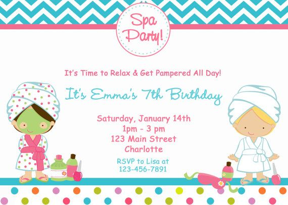 Spa Birthday Party Invitation Spa Party Spa Birthday