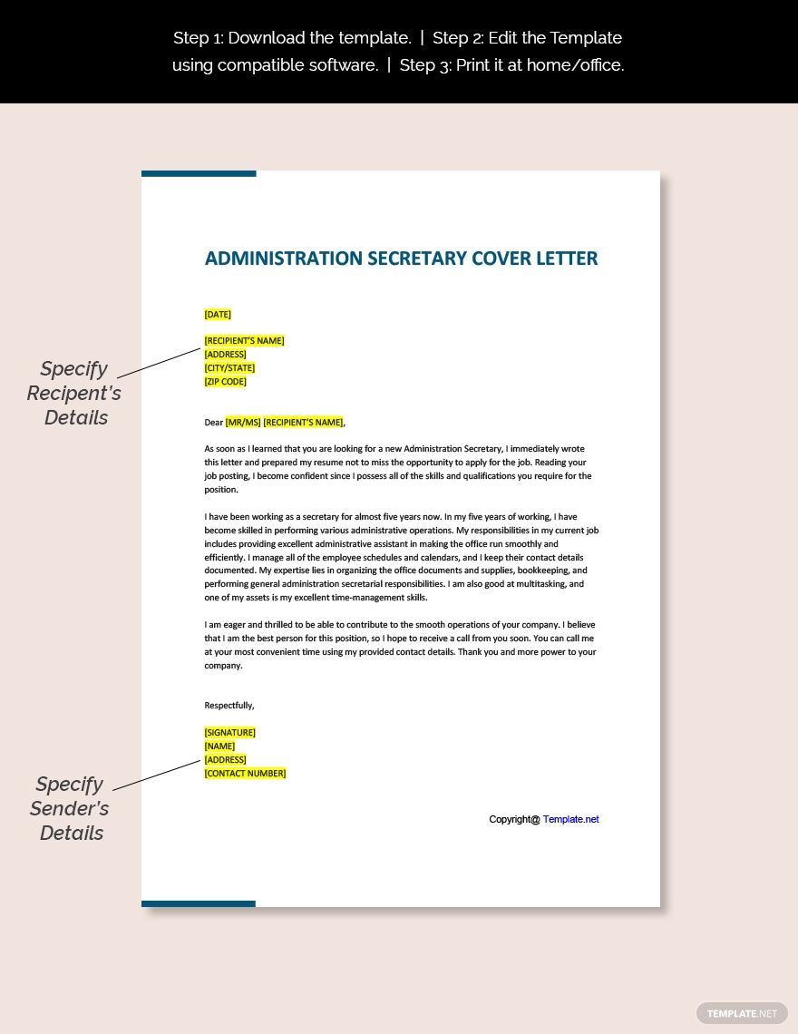 Administration Secretary Cover Letter Template Free Pdf Word Doc Apple Mac Pages Google Docs Cover Letter Template Cover Letter Template Free Cover Letter
