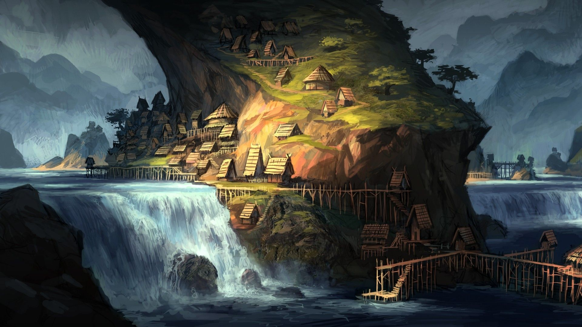 Fantasy Art House Waterfall Water Digital Art