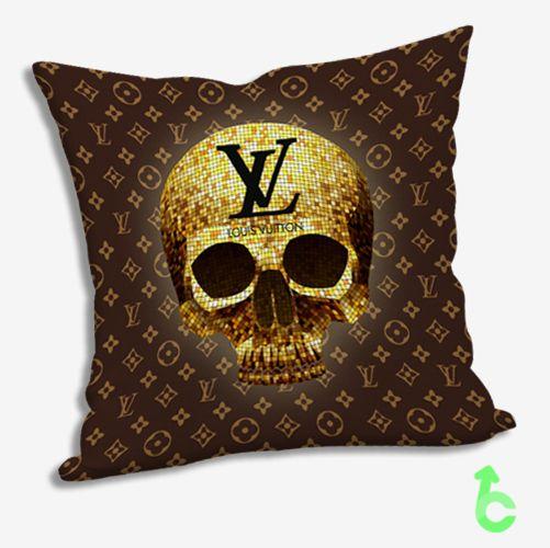 c13a9f17c7d Best golden skull louis vuitton pattern Pillow Cases