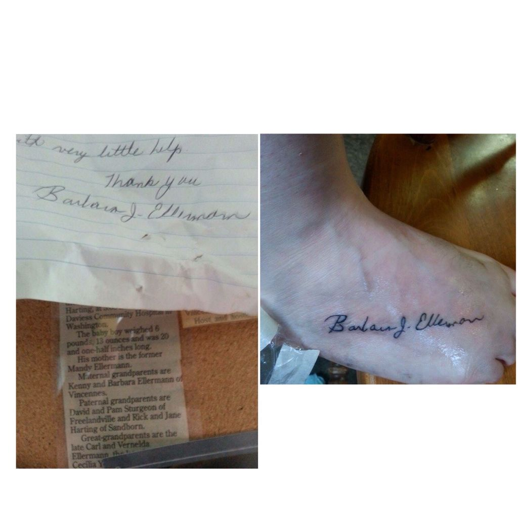 My mom's signature as a tattoo