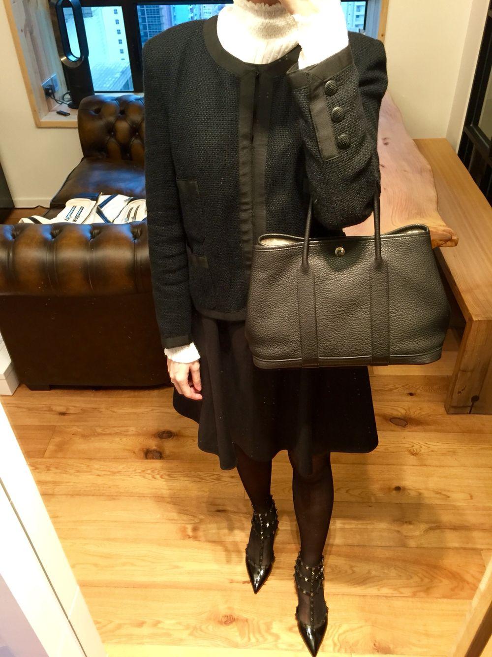 131610ad2362 Chanel little black tweed jacket