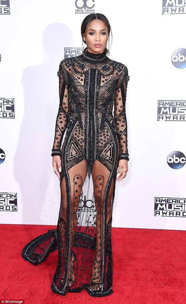 Ciara Dazzles In See Through Black Gown With Dramatic Long Train