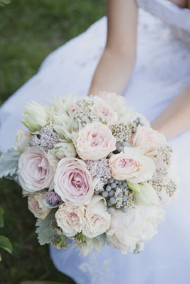 Garden rose peony Bridal bouquet in shades of blush pink and gray