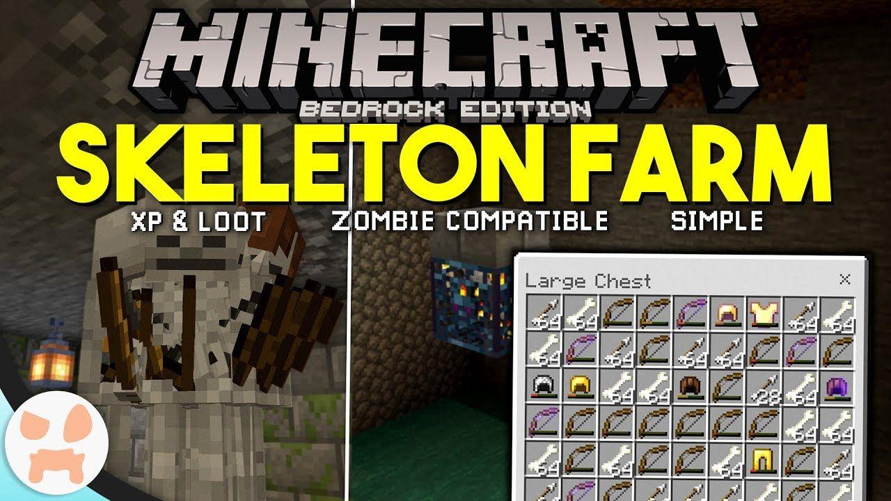 Minecraft Bedrock Skeleton Farm Tutorial Easy Xp Loot Bedrock Minecraft Skeleton Minecraft