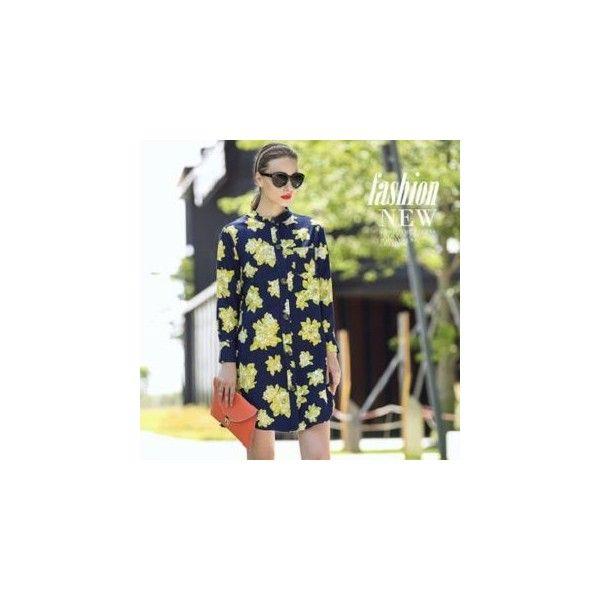 Long-Sleeve Floral Denim Shirtdress (€39) ❤ liked on Polyvore featuring dresses, women, long sleeve shirt dress, denim shirt dress, floral shirt dress, blue denim dress and purple dress