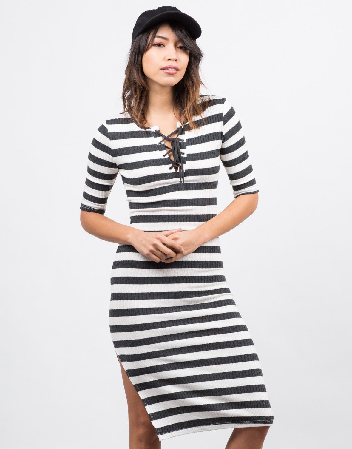 0d036d204054 Lace Up Striped Midi Dress