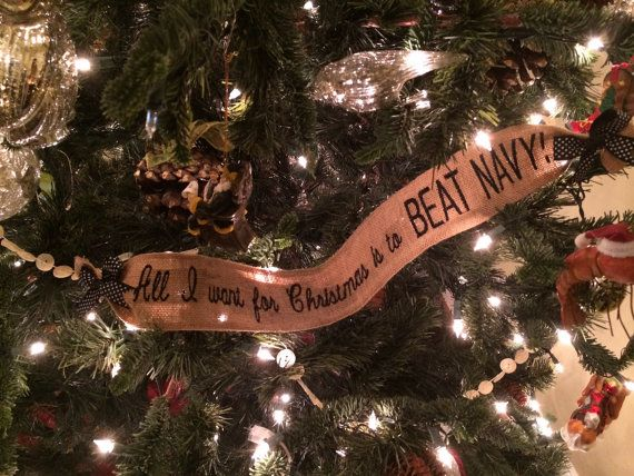 Burlap, West Point Christmas Tree Wrap Ornament All I want for ...