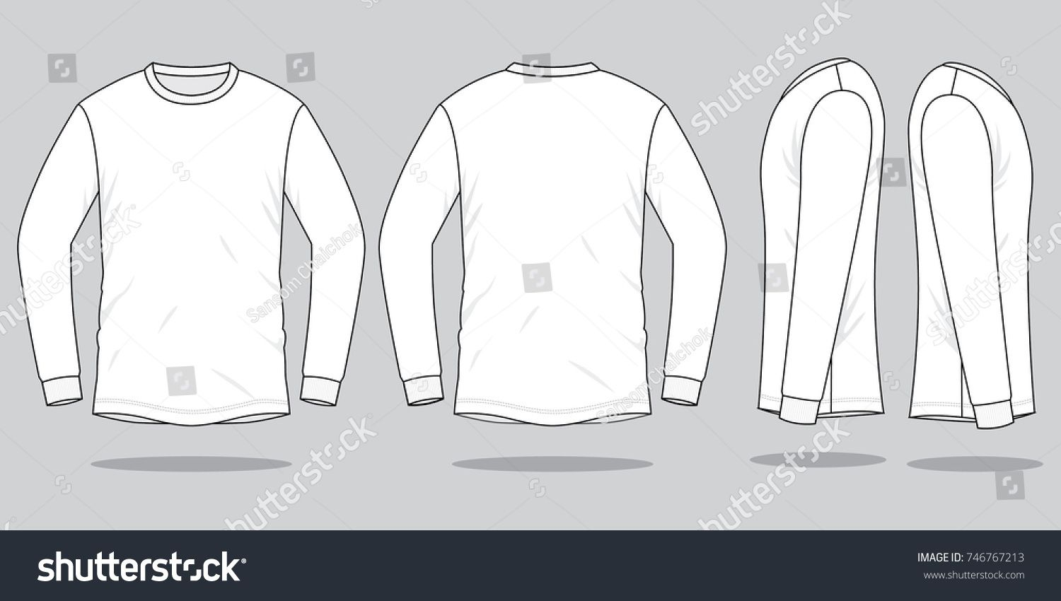 Download White Long Sleeve T Shirt For Template Front Back And Side Views Sleeve Shirt White Long Shirt Sketch White Long Sleeve Tshirt Shirt Template