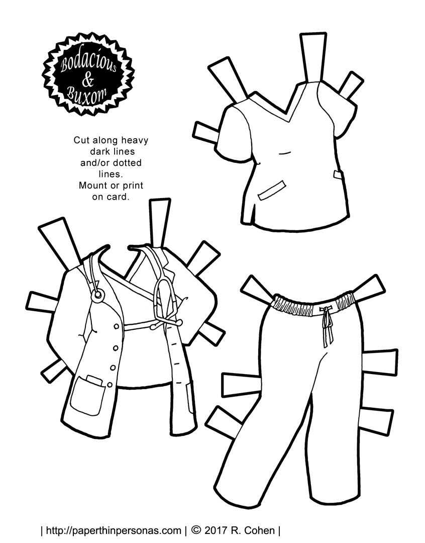 A Nurse or Doctor Paper Doll Outfit to Print for Free
