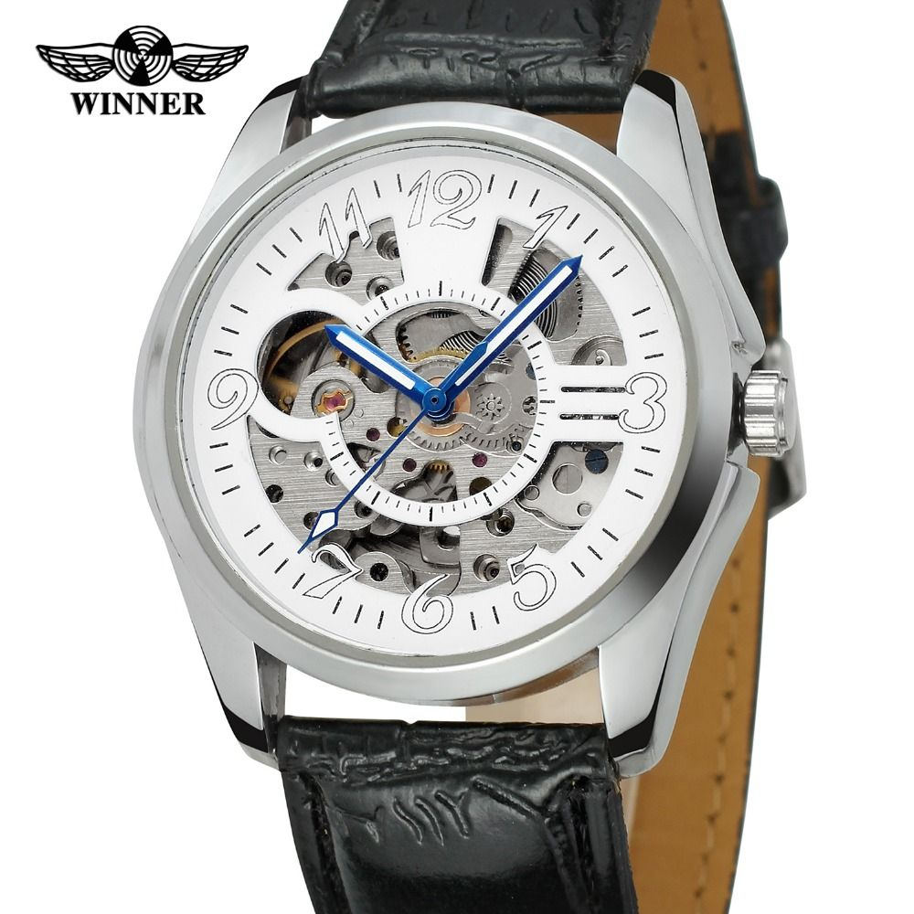 T-WINNER Men's 2017 Stylish Automatic Skeleton Analogue Dial Leather Strap Collection Watch with Hardlex Dial Window WRG8114M3 #Affiliate