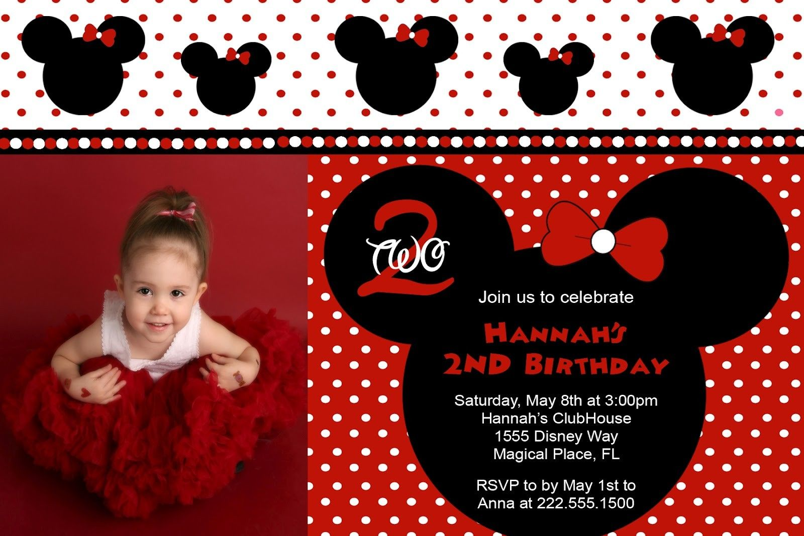 Minnie Mouse Birthday Invitations Free Templates – InviteTown ...
