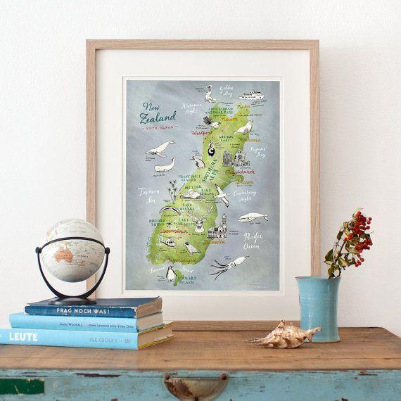 Karte Island Drucken.New Zealand Map Of South Island Illustrated Map Art Print