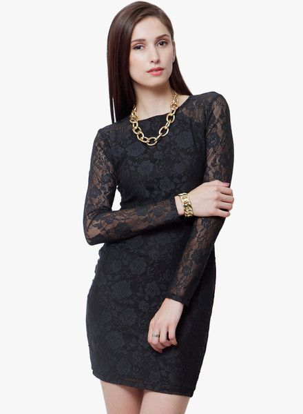 ea16813686e Buy Faballey Black Colored Embroidered Bodycon Dress for Women Online India