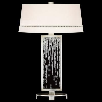 Fine art lamps cascades 33 inch 3 way 1 lt table lamp table lamp in a warm silver leaf finish featuring woven hand cut crystals