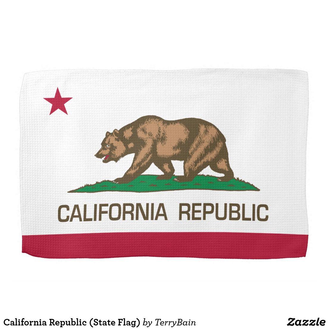 California Republic State Flag Kitchen Towel Zazzle Com California Flag Tapestry California Republic