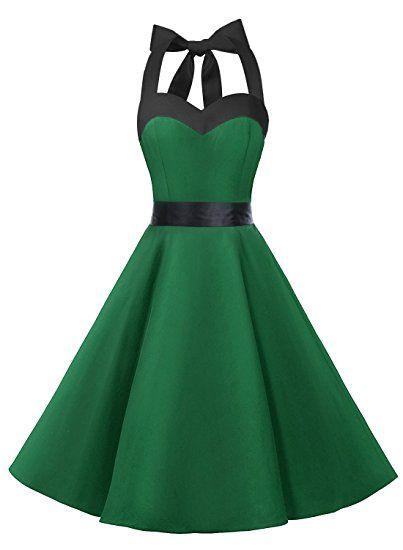 Dresstells Neckholder Rockabilly 50er Vintage Retro Kleid Petticoat ...