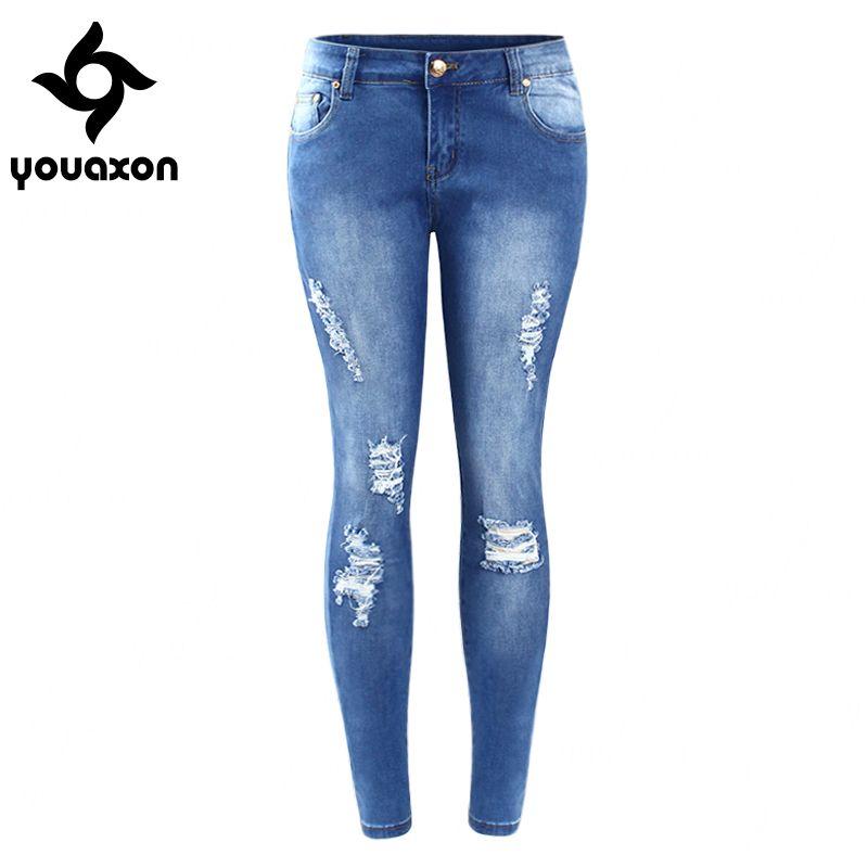2016 Youaxon Plus Size Ripped Fading Jeans Women`s True Denim ...