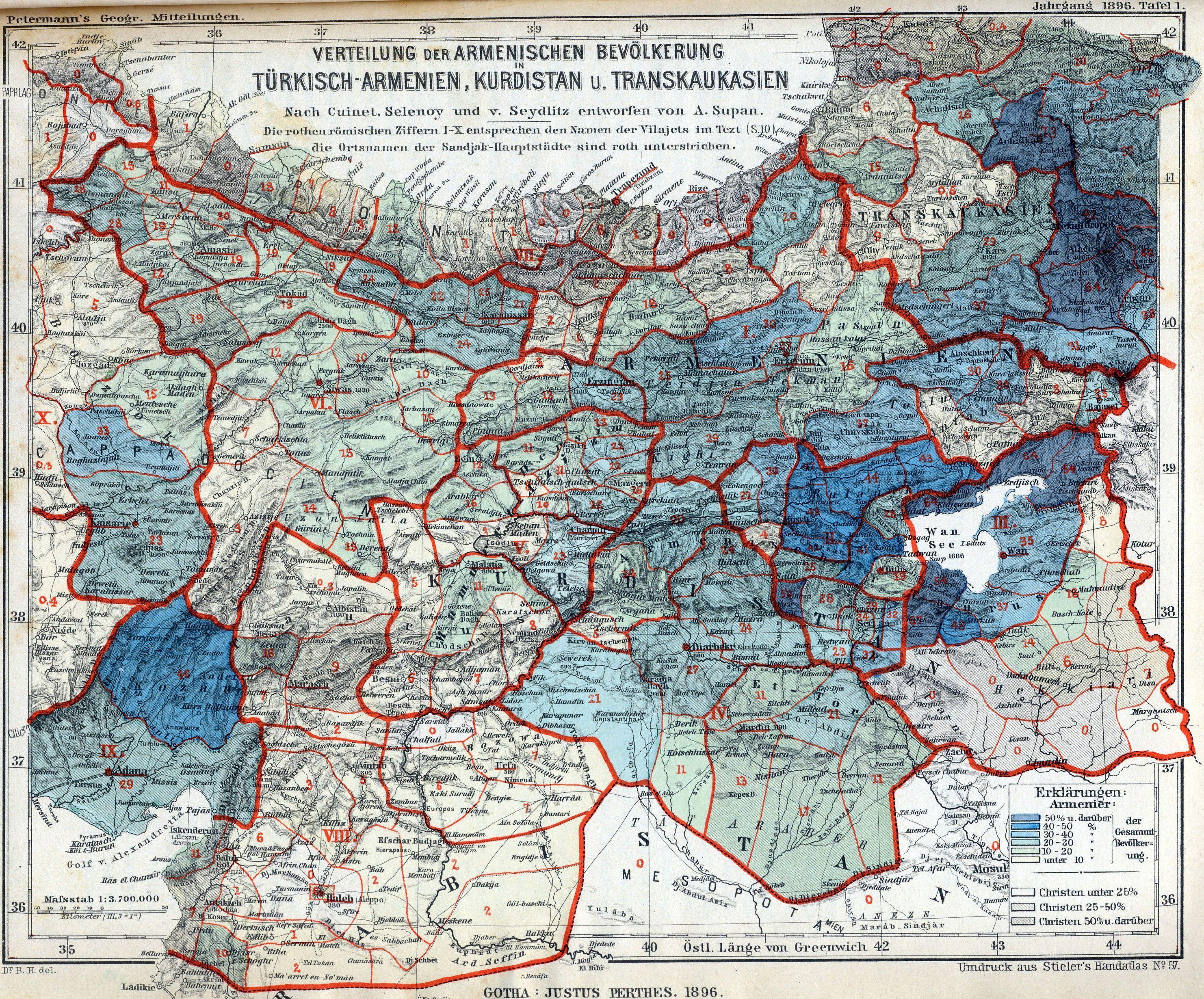 German map of Ottoman Turkish Armenian vilayets yr 1896 Malatya