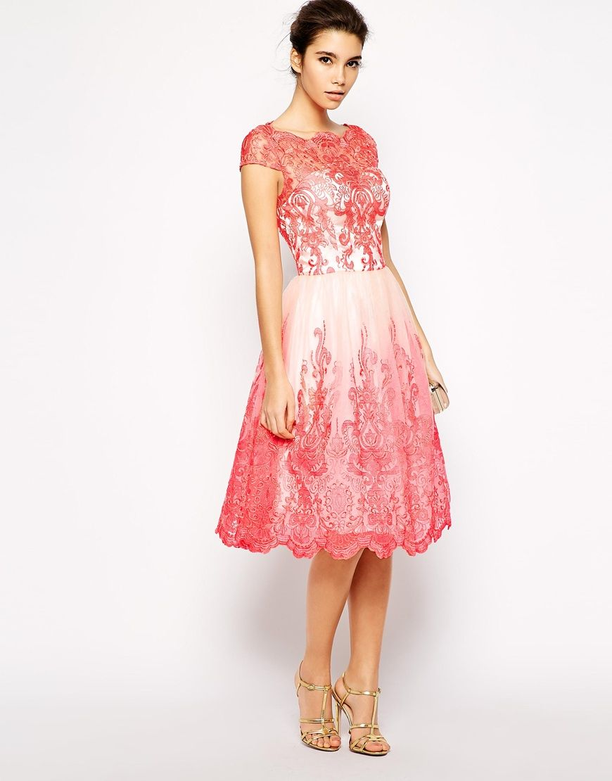 Chi Chi London Premium Embroidered Lace Prom Dress with Bardot Neck ...