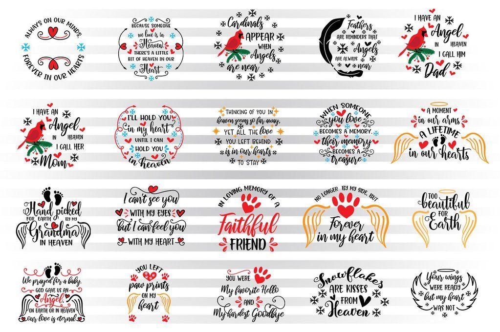 21 Memorial Svg Bundle for Tattoos & Christmas Memorial