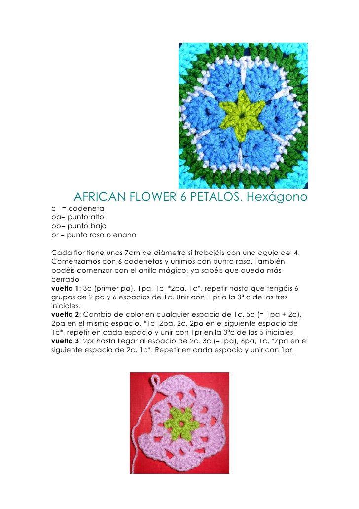 African flower pattern. 6 petals. Hexagon | African Flower ...
