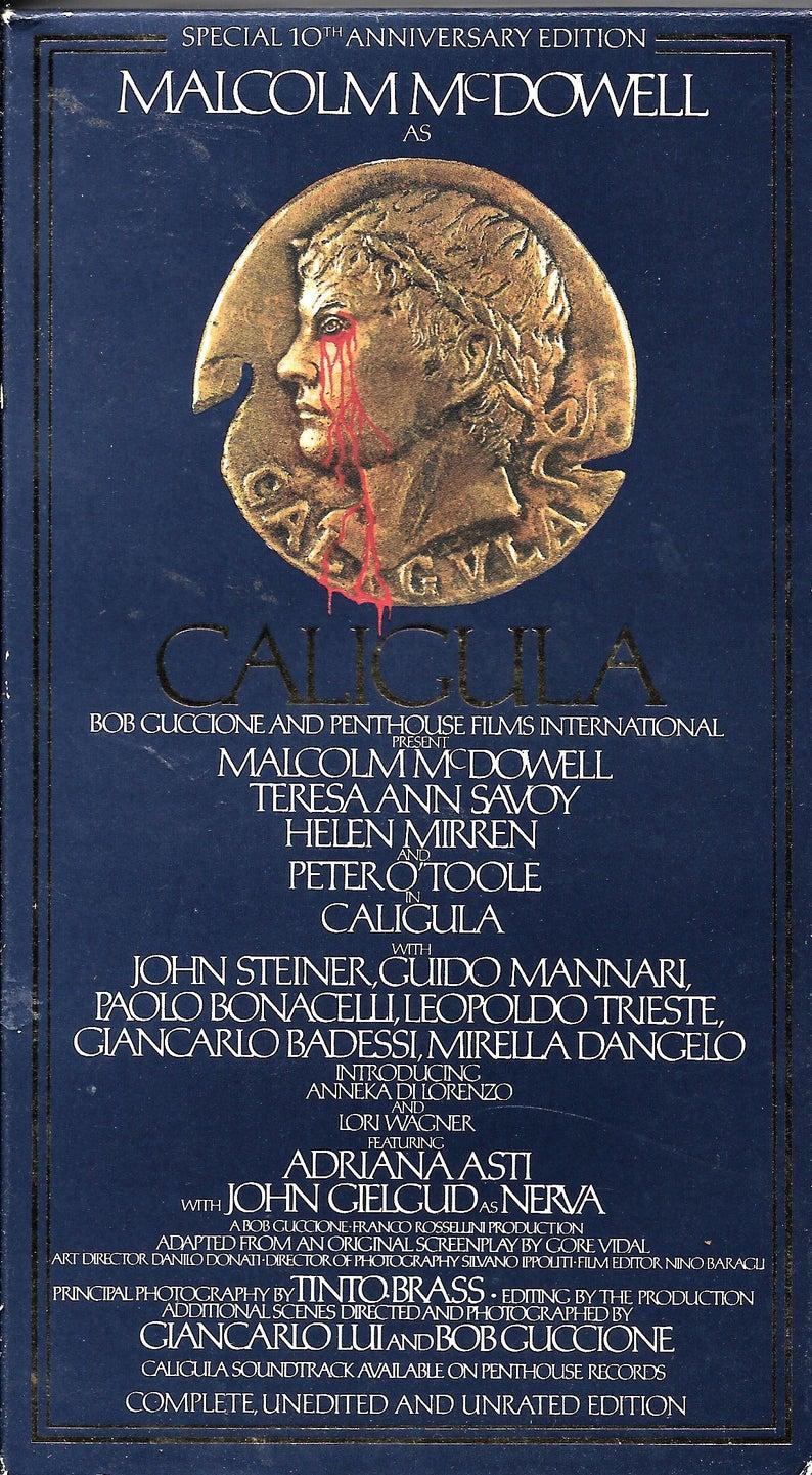 Caligula Vhs 1979 10th Anniversary Edition Malcolm Mcdowell Helen Mirren Unrated 10 Anniversary Anniversary Vhs