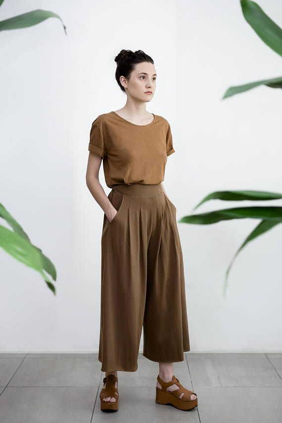 8124a901342 Culottes Gaucho Pants Cotton Elastic Waist Plus size Pants