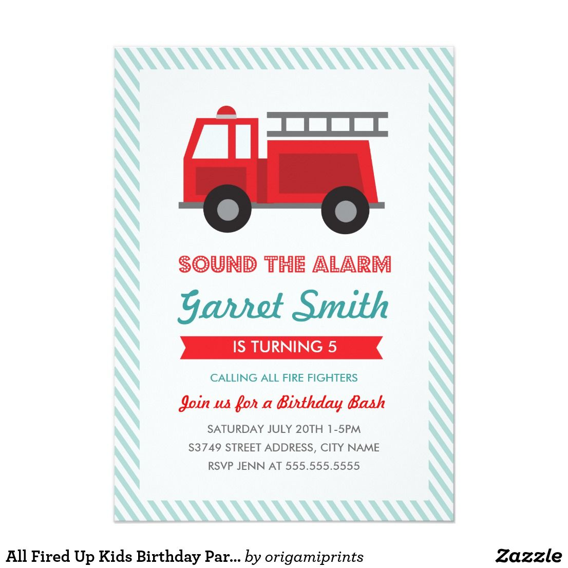 All Fired Up Kids Birthday Party Invitation | Kids birthday party ...