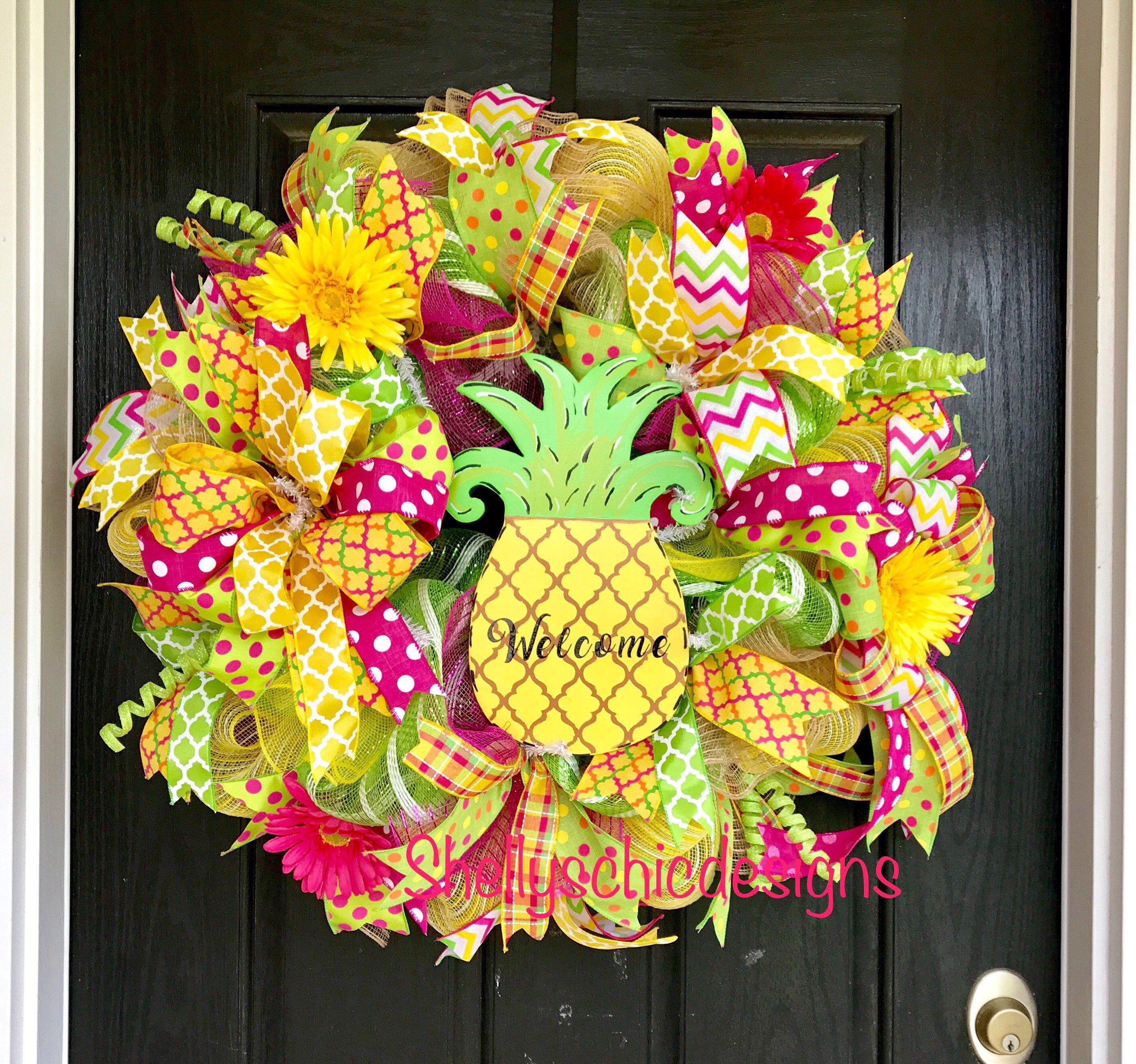 Photo of Summer Deco Mesh Wreath, Pineapple Wreath, Large Summer Mesh Wreath, Welcome Wreath, Welcome Wreath, Summer Wreath, Front Door Wreath,